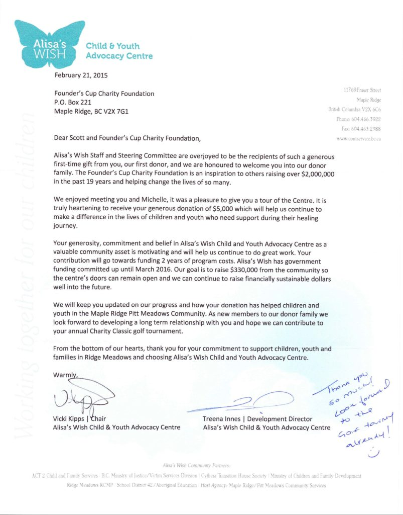 Alisas Wish Child Youth Advocacy Centre Letter Of Thanks
