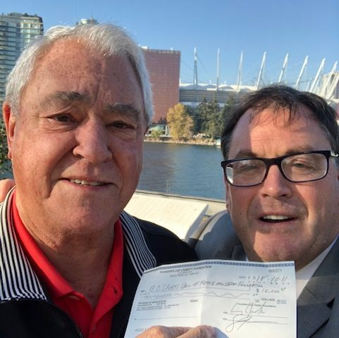The B.C. Sports Hall of Fame Foundation Cheque Pesentation